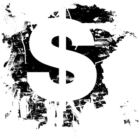 Dollar currency symbol icon on grunge background