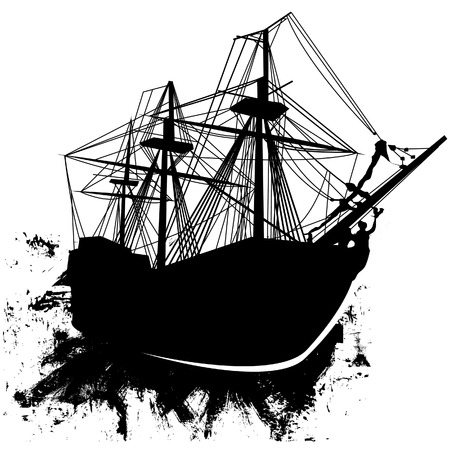 Vector silhouette of sailing pirate ship in grunge style