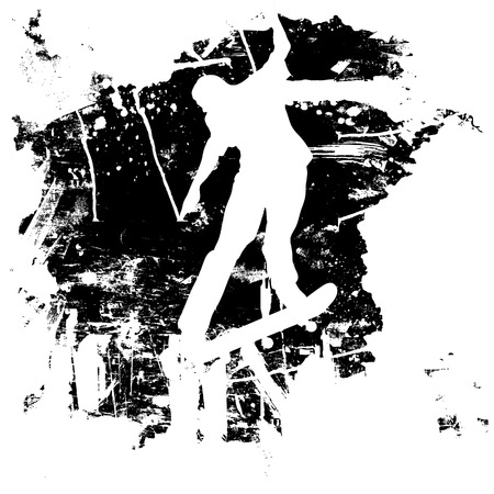 skateboarding tricks: Skateboarder or snowboarder in vector silhouette with grunge style and effects