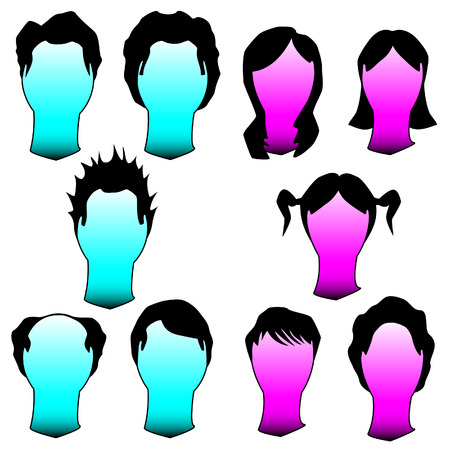 hairstyles: Hairstyles and haircuts in vector silhouette - men and women