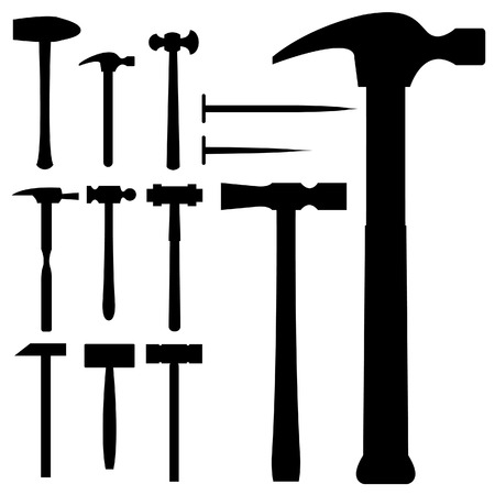 Hammers, mallets, and nails in vector silhouette Vector