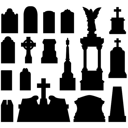 depress: Headstone and gravestones as vector silhouettes