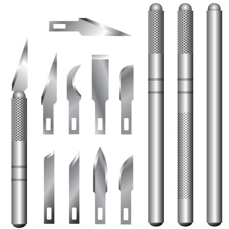 夫とユーティリティ ナイフのハンドルやブレードの詳細なベクトル イラスト。