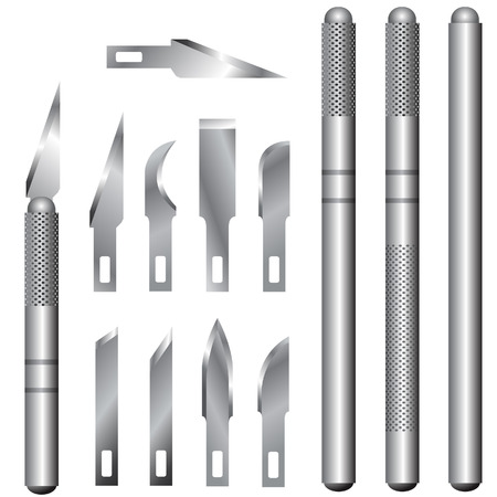 A detailed vector illustration of hubby and utility knife handles and blades. Illustration