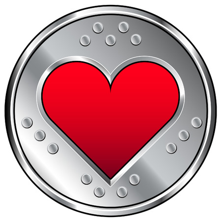 Vector illustration of stainless metal industrial button with heart or love icon