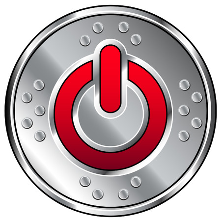 Vector illustration of shiny industrial button with red computer power icon Reklamní fotografie - 4695186