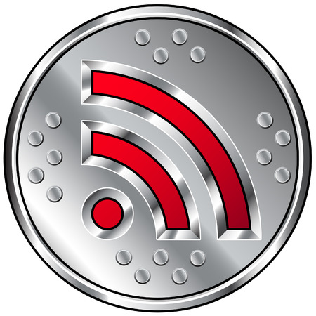 A round industrial style RSS feed icon. Vector