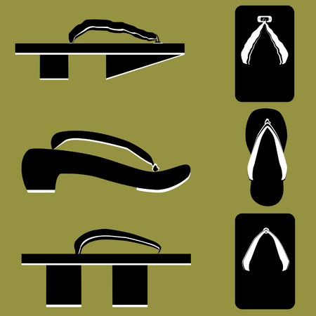 Japanese wooden sandals - vector silhouettes Vector