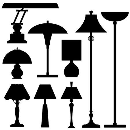 Vector silhouet instellen van lampen en verlichting Stock Illustratie