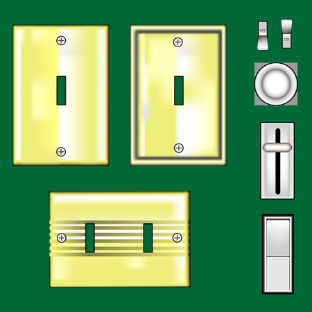 Light switches and faceplates in shiny brass - vector set
