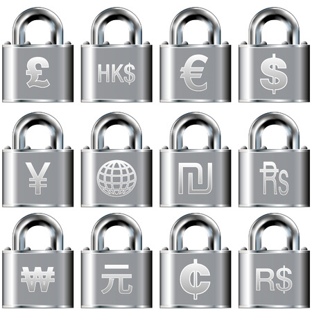 International currency symbol icons on security padlock buttons