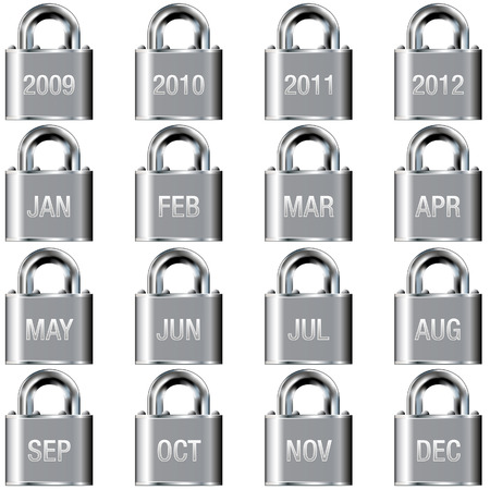 Month and year calendar icons on secure padlock vector buttons Vector