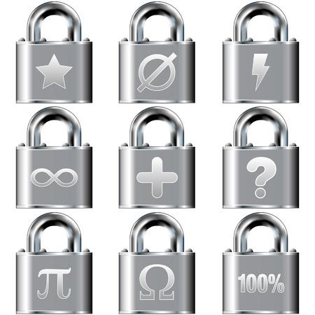 nulo: Matem�ticas de vectores iconos de bot�n de bloqueo conjunto