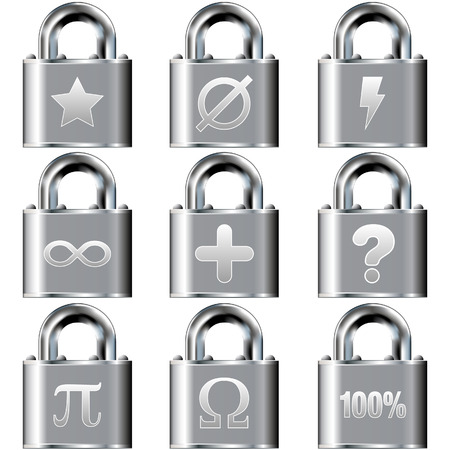 Math icons on vector lock button set