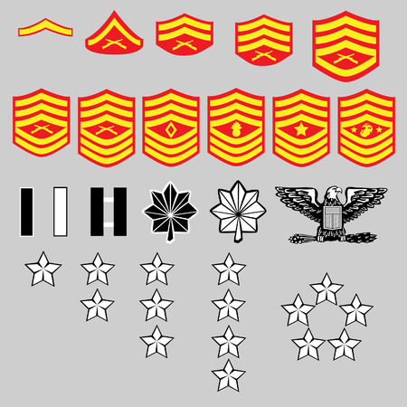 admiral: US Marine Corps rank insignia for officers and enlisted in vector format