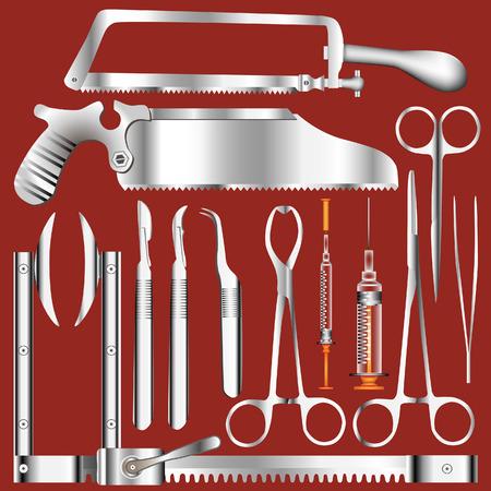 enfermera quirurgica: Quir�rgico conjunto de herramientas en acero inoxidable textura - ilustraciones vectoriales Vectores