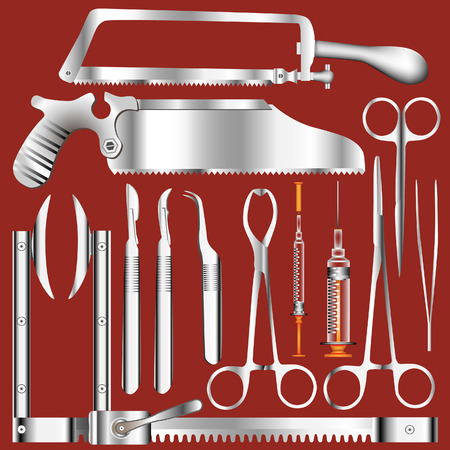 Surgical tool set in stainless steel texture - vector illustrations Illustration