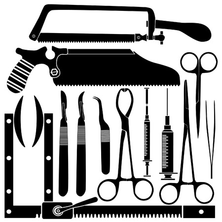tweezer: Surgical tool set in silhouette - vector illustrations