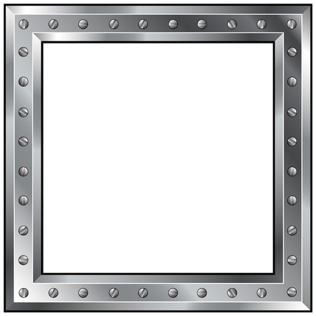rectangle button: Detailed vector illustration of a shiny metal industrial border with bolts. Illustration