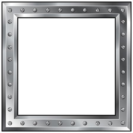 on metal: Las ilustraci�n vectorial de un brillante de metal industrial frontera con pernos. Vectores