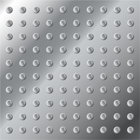 studs: Vector illustration of a shiny metallic background or texture with small studs.