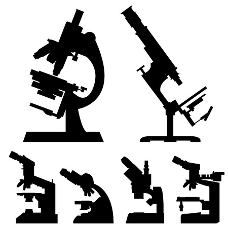 pathology: Microscopes in detailed vector silhouette
