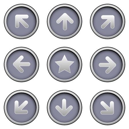 현대 벡터 버튼 s에 방향 화살표 아이콘