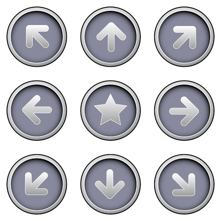 hilight: Direction arrow icons on modern vector button s Illustration