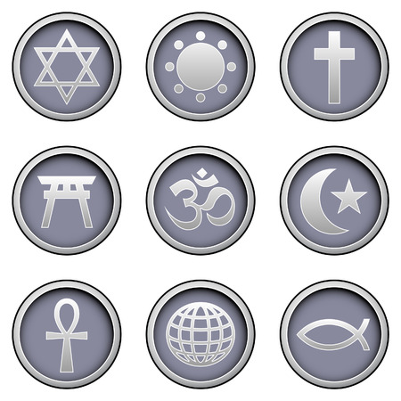 Religious symbol icons on modern vector button set Stock Vector - 4695170