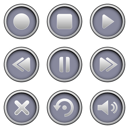 reverse: Media player icons on modern vector button set Illustration