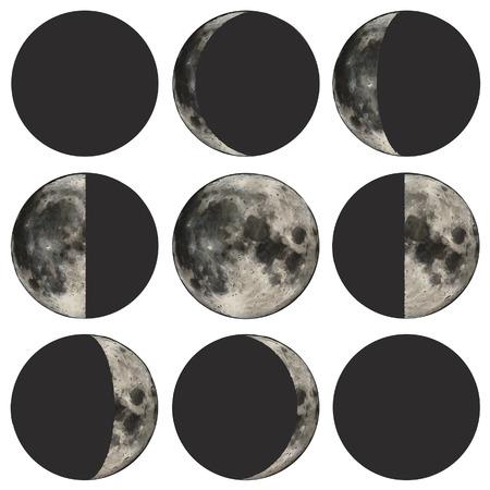 Fasen van de maan vector illustratie gebaseerd op publieke domein beeld.