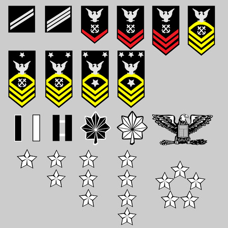 US Navy rank insignia for officers and enlisted in vector format Vector