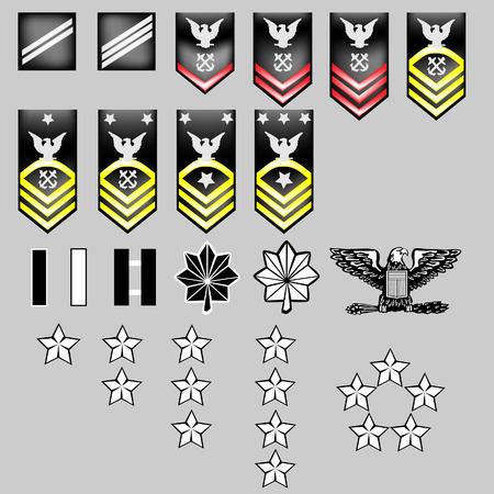 luitenant: US Navy rang onderscheidingstekens voor officieren en soldaat in vector-formaat met textuur Stock Illustratie