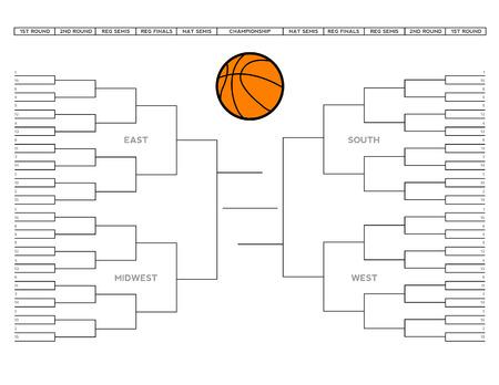 mars: Vector illustration d'un tournoi de basket-ball coll�gial � blanc support.