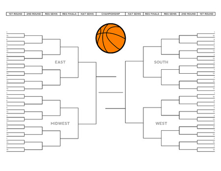 march 8: Vector illustration of a blank college basketball tournament bracket. Illustration