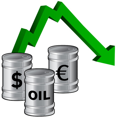 Oil prices dropping - vector illustration of fuel barrels with currency icons and a down arrow signifying lowering price Vector
