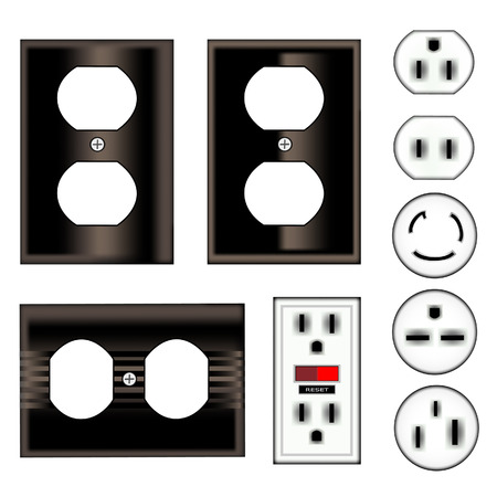 shiny black: Electrical outlets and faceplates in shiny black - vector set