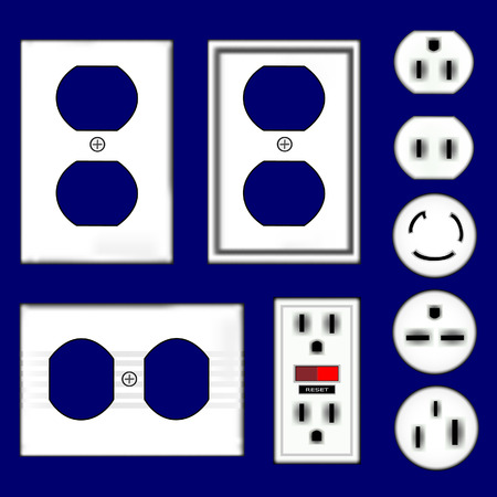 Electrical outlets and faceplates in shiny white plastic - vector set Vector