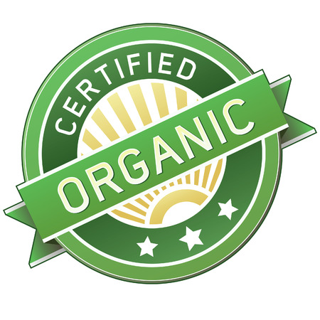 Certified organic label or sticker for products - vector illustration Vector