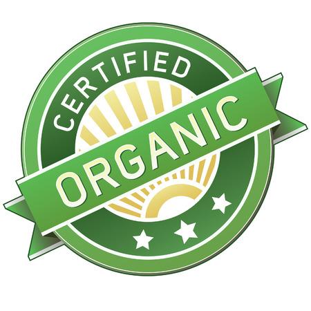 org�nico: Org�nicos certificados etiqueta o pegatina de los productos - ilustraci�n vectorial
