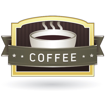 Coffee product or menu label sticker for use on websites, packaging, or print materials Vector