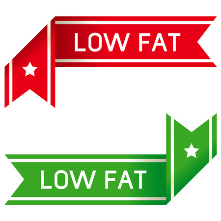 low fat: Low fat food corner label or sticker for print materials, product websites, or packaging Illustration