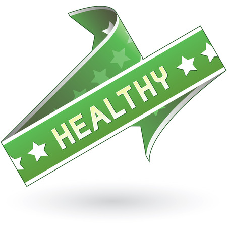 Health label sticker for food, product, or service print materials, websites, and packaging Vector