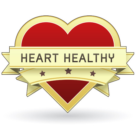 diabetico: Coraz�n saludable etiqueta o adhesivo para la alimentaci�n y el embalaje del producto - vector adecuado para web o impresi�n de uso