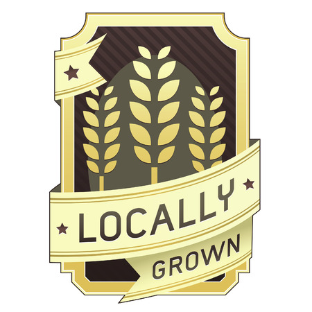 grown: Locally grown food label for product packaging, website, or print materials
