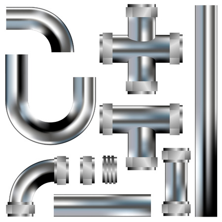 Plumbing pipes - vector set with parts to build your own configurations - stainless steel texture
