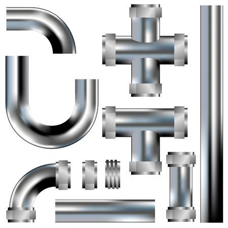 배관 파이프 - 벡터 자신의 구성을 구축하는 부품으로 설정 - 스테인레스 스틸 질감 스톡 콘텐츠 - 4695297
