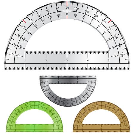 Gedetailleerde vector illustratie van protractors gebruikt bij het opstellen en engineering. Stock Illustratie