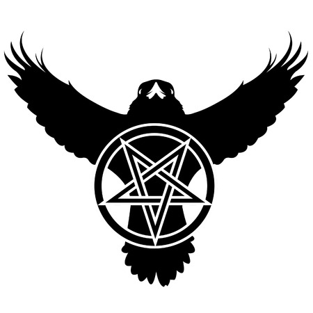 Vector illustration of the silhouette of a raven with a pentagram in grunge style.