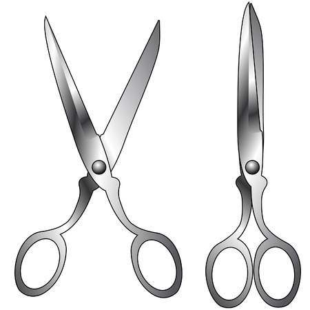 Vector illustration of household scissors with stainless steel texture